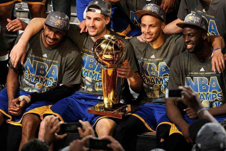 Leandrinho foi campeão da NBA ao lado de Thompson, Curry e Green (Foto: Pinterest)