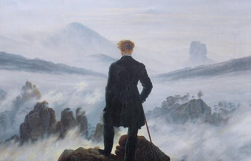 O peregrino sobre o mar de névoa, de Caspar David Friedrich, (1817-1818).