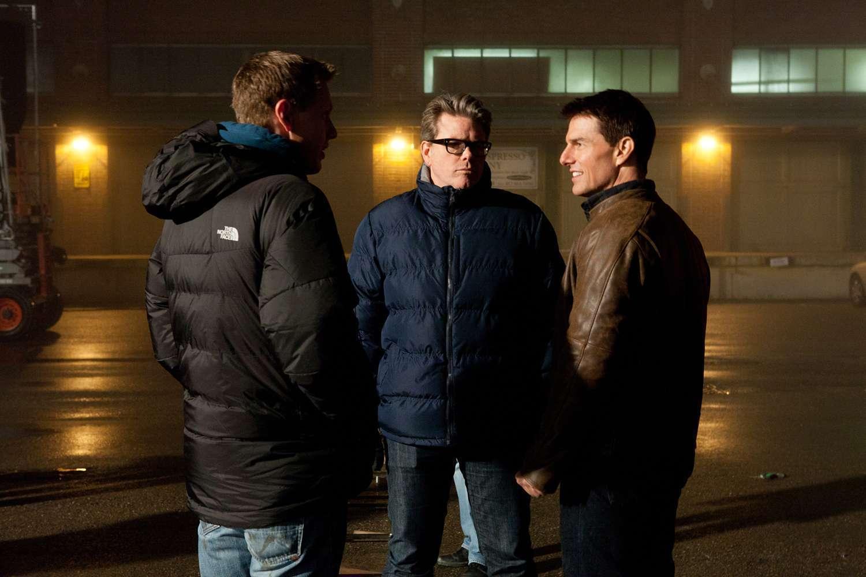 O produtor David Ellison, McQuarrie e Cruise durante as filmagens
