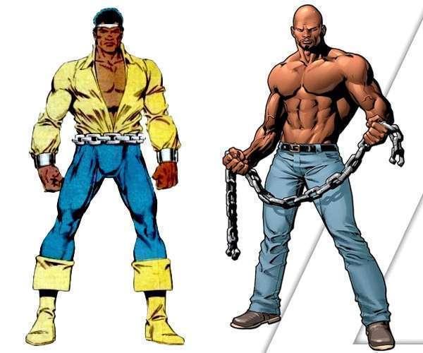 O visual clássico e o atual de Cage nos quadrinhos